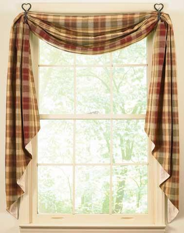 Red white check 36L tier valance set kitchen curtains