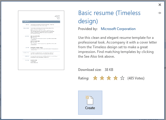 how to create a professional resume using word 2013