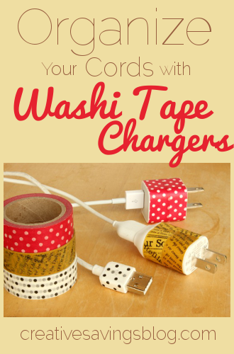 Organize Cord Chargers -- 11 Ways to Organize with Washi Tape :: OrganizingMadeFun.com