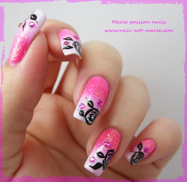 Nail art dégradé coloré et roses noires4