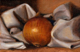 Oil painting of a brown onion nestled amongst the folks of a white tea towel.