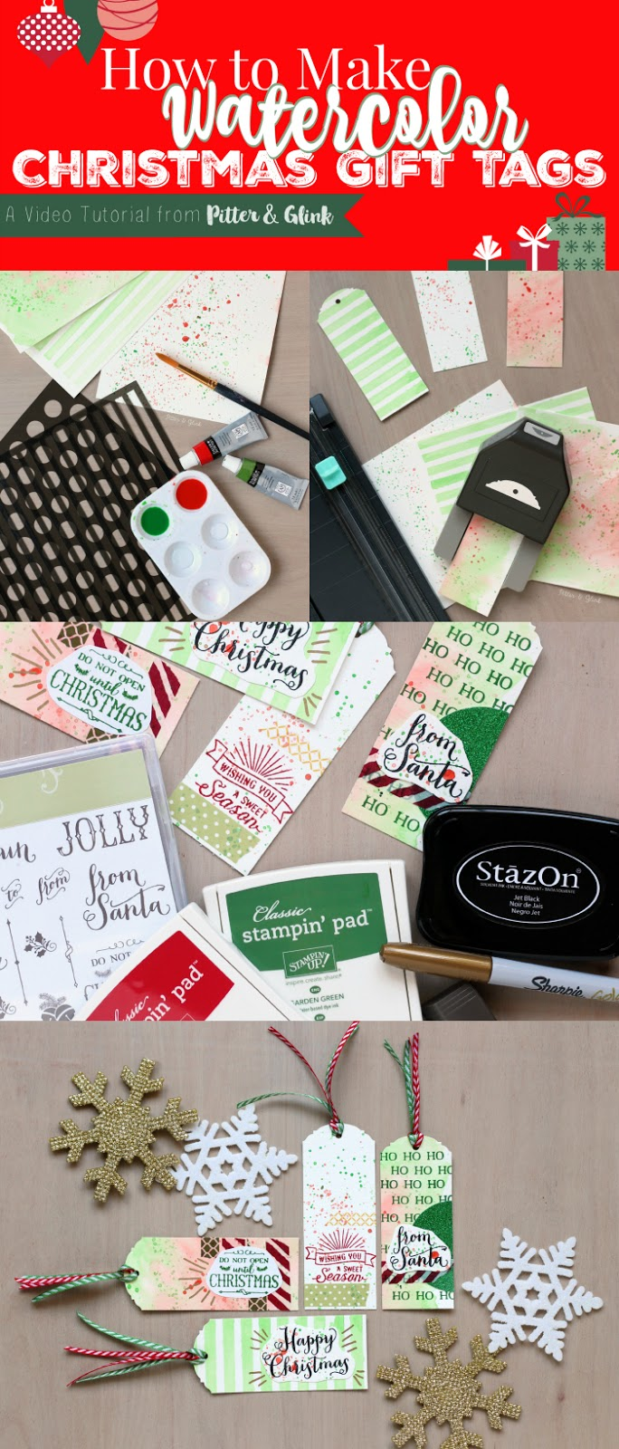 Create beautiful Watercolor Christmas Gift Tags to add a handmade touch to store-bought gifts. www.pitterandglink.com