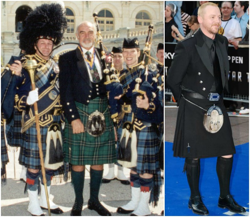 (Left) Sean Connery with members of the United States Air Force Reserve's Pipe and Drum Band in Washington, DC. (Right) British Actor Simon Pegg. Credit Andre Luis