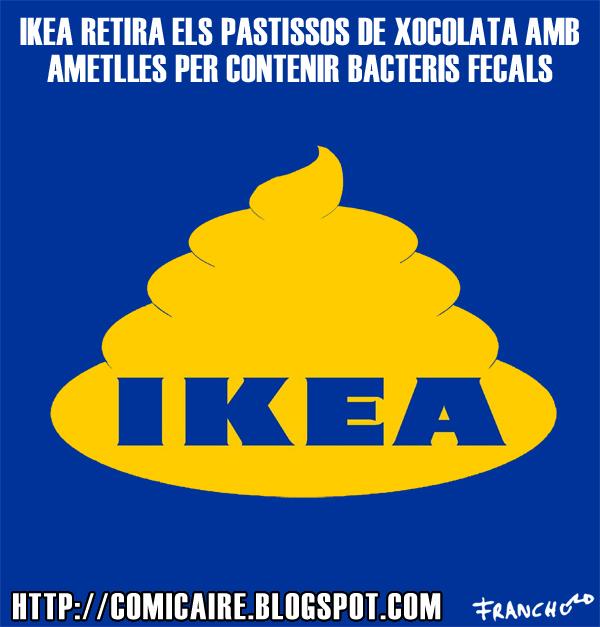 Vinyeta d'humor gràfic sobre la polèmica del pastís de xocolata amb ametlles, que en realitat era de merda d'IKEA