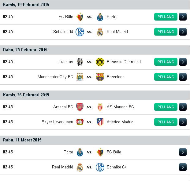 Jadwal Liga Champions UEFA 2015