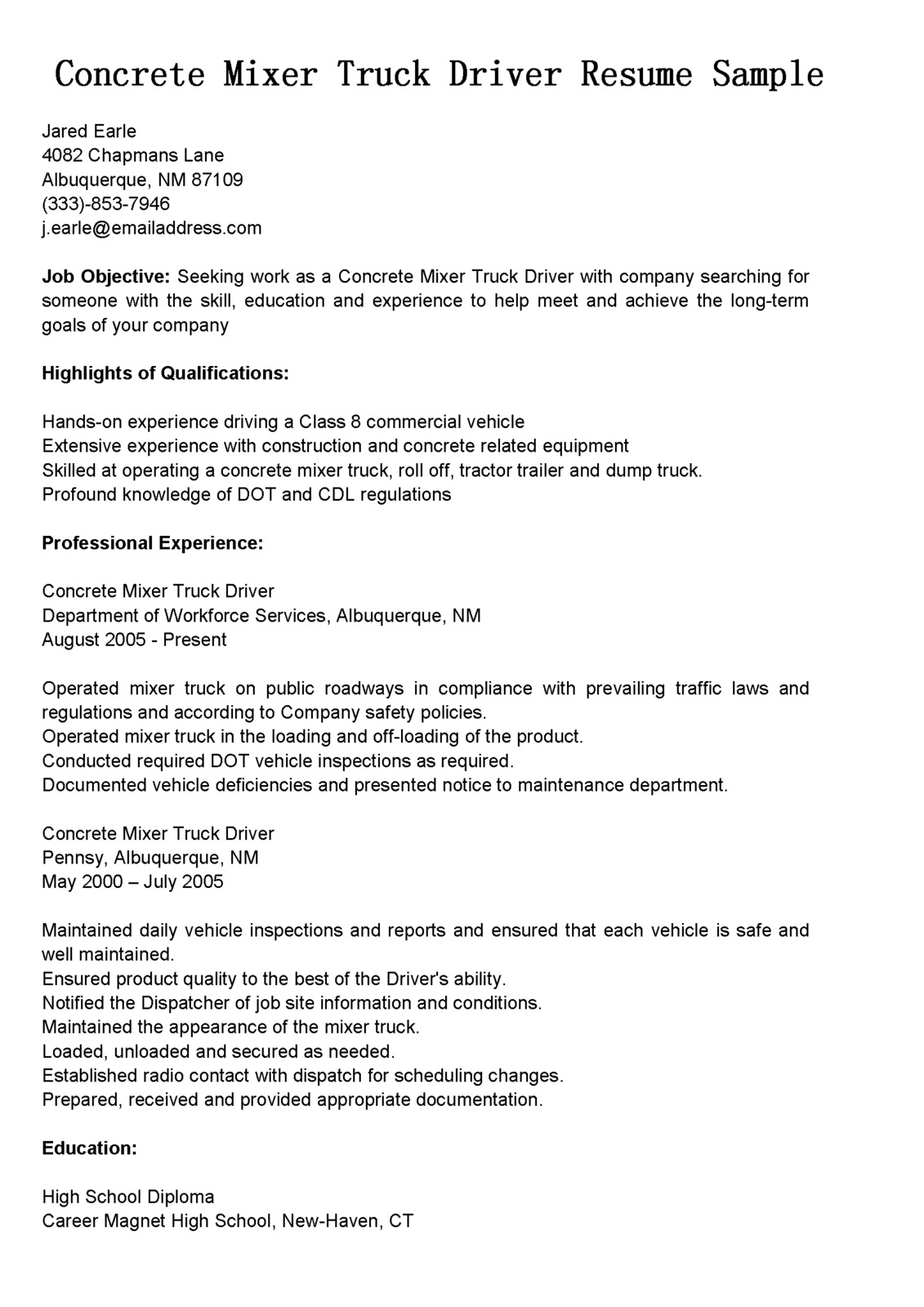 Driver Resumes: Concrete Mixer Truck Driver Resume Sample