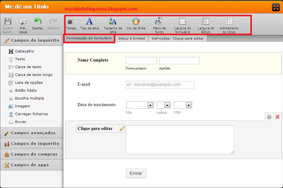 Criando  formulário de contatos