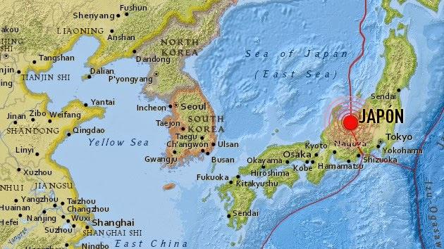 Epicentro sismo 6,8 grados sacude Japón el 22 de Noviembre 2014