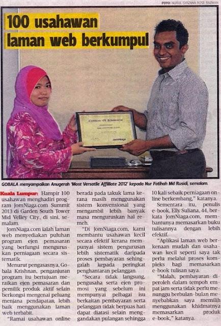 Masuk newpapers Metro Ahad terima award