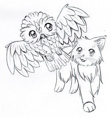 Drawing Kitty Katze Und Eule