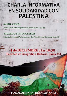 Cartel charla informativa en solidaridad con Palestina