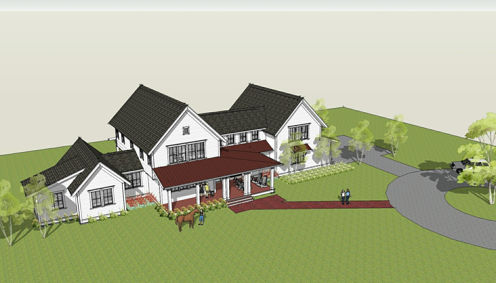 Ron brenner architects new modern farmhouse design completed for Contemporary farmhouse floor plans