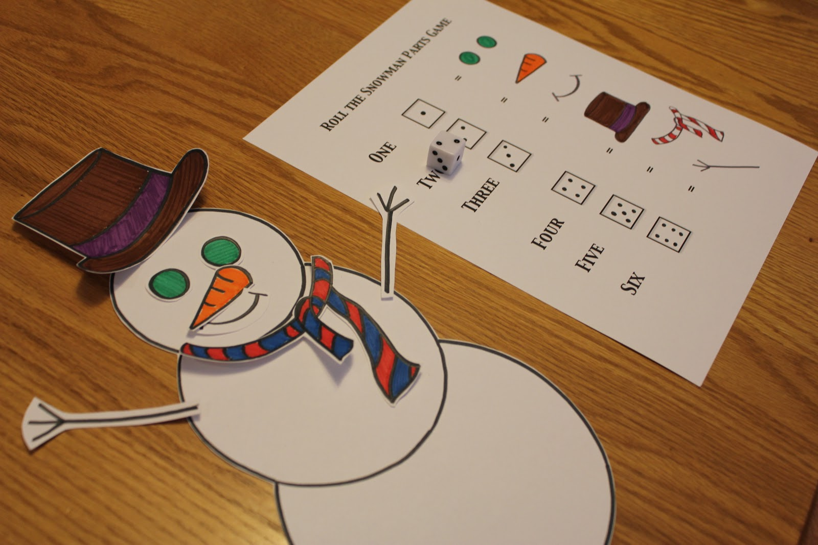 Dice Drawing Game Build a snowman dice game