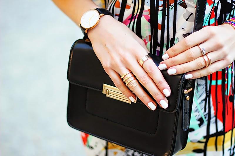 graffiti print dress, Daniel Wellington watch, rings, Mango mini bag