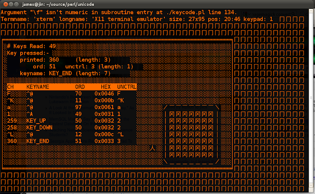 Screenshot of curses test program