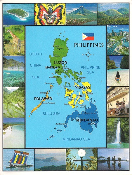 One postcard one world map postcard from philippines location the philippines in southeast asia in the western pacific ocean to its north across the luzon strait lies publicscrutiny Image collections