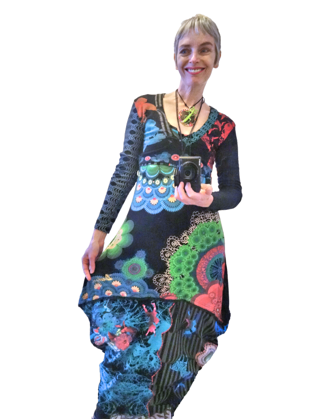 Bag and a Beret, Teacup maxi made from 2 Desigual dresses