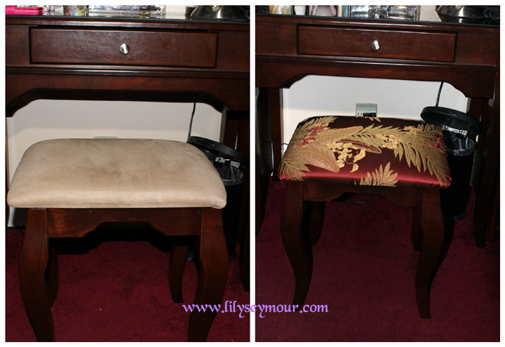 How I Re-Upholstered My Vanity Stool