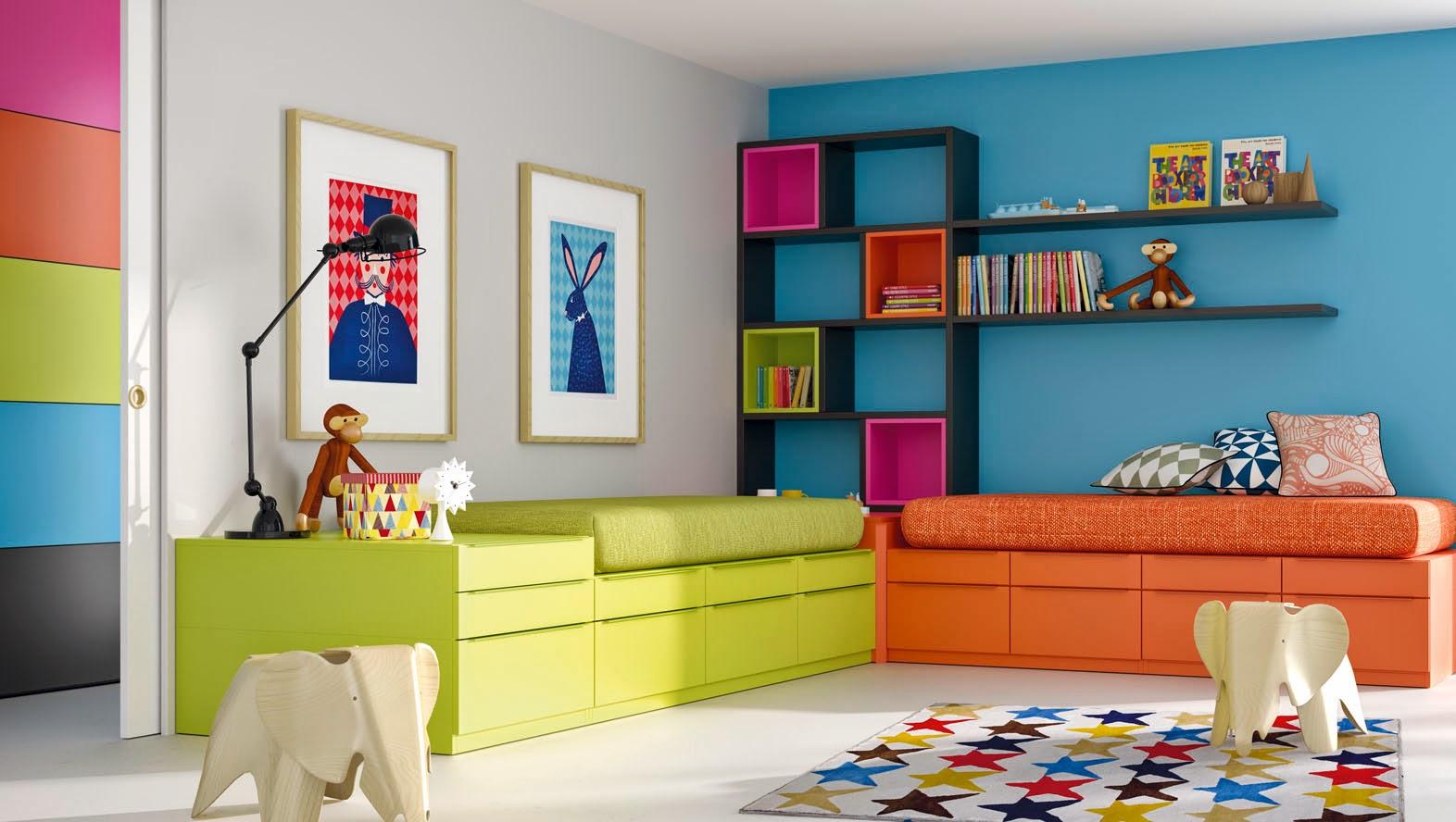 habitacion camas cruzadas modernas