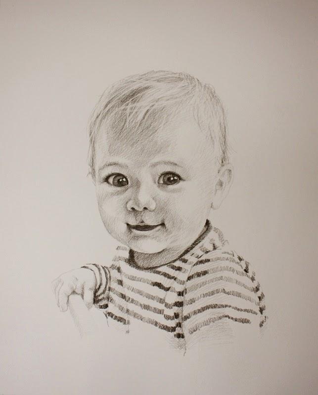 Kinderportrait vom Foto, Kohle / Papier