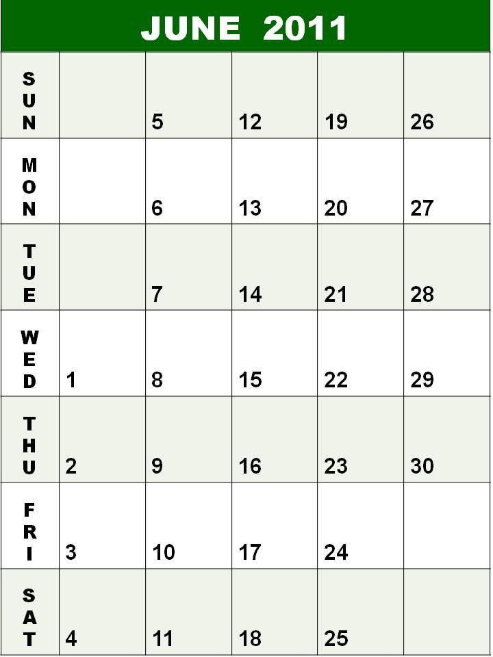 june 2011 calendar. PDF June 2011 Calendar