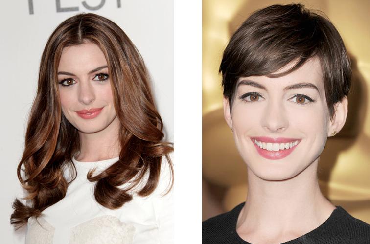 anne, hathaway, long, vs, short, hair