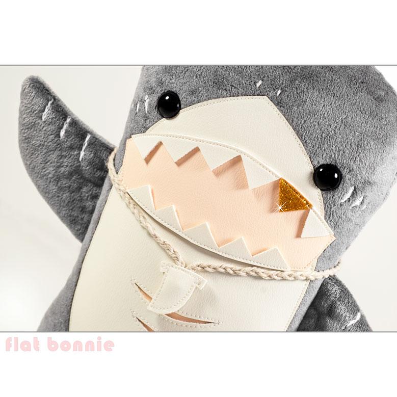 flat shark plush stuffed animal by flat bonnie waiving