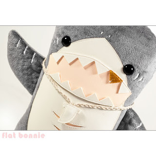 Flat Shark plush stuffed animal by Flat Bonnie - waiving