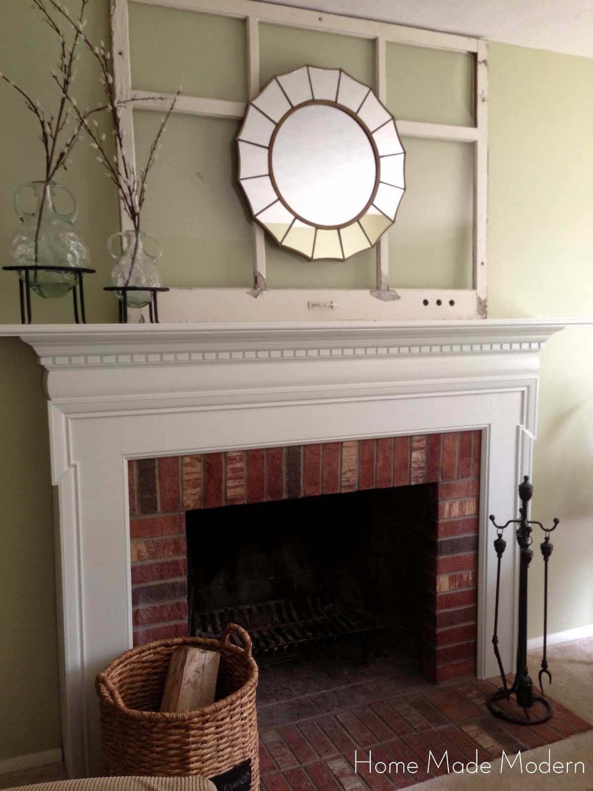 home made modern painted fireplace mantel finally