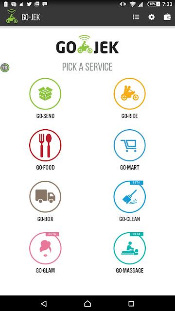 Tampilan Menu Aplikasi Gojek - Blog Mas Hendra