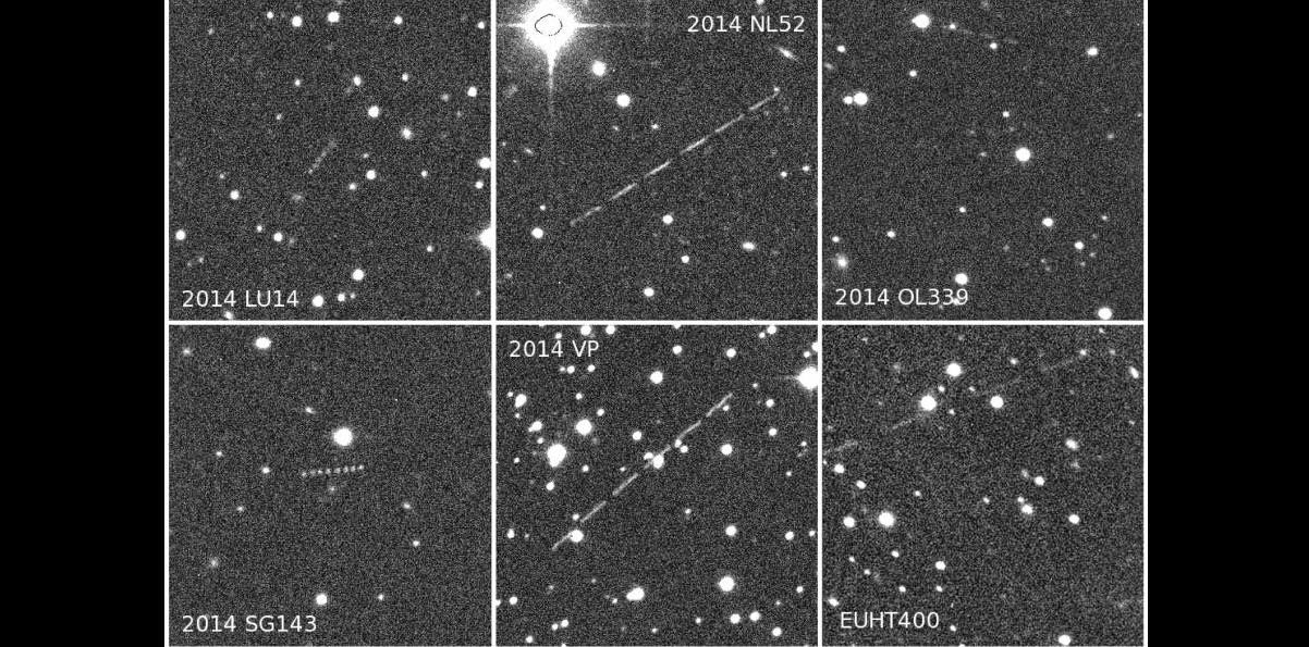 The first NEAs discovered using the Isaac Newton Telescope and from La Palma plus one subsequently lost. Six to eight NEA apparitions were combined in the same stellar field. Credit: F. Char, UAUA Chile