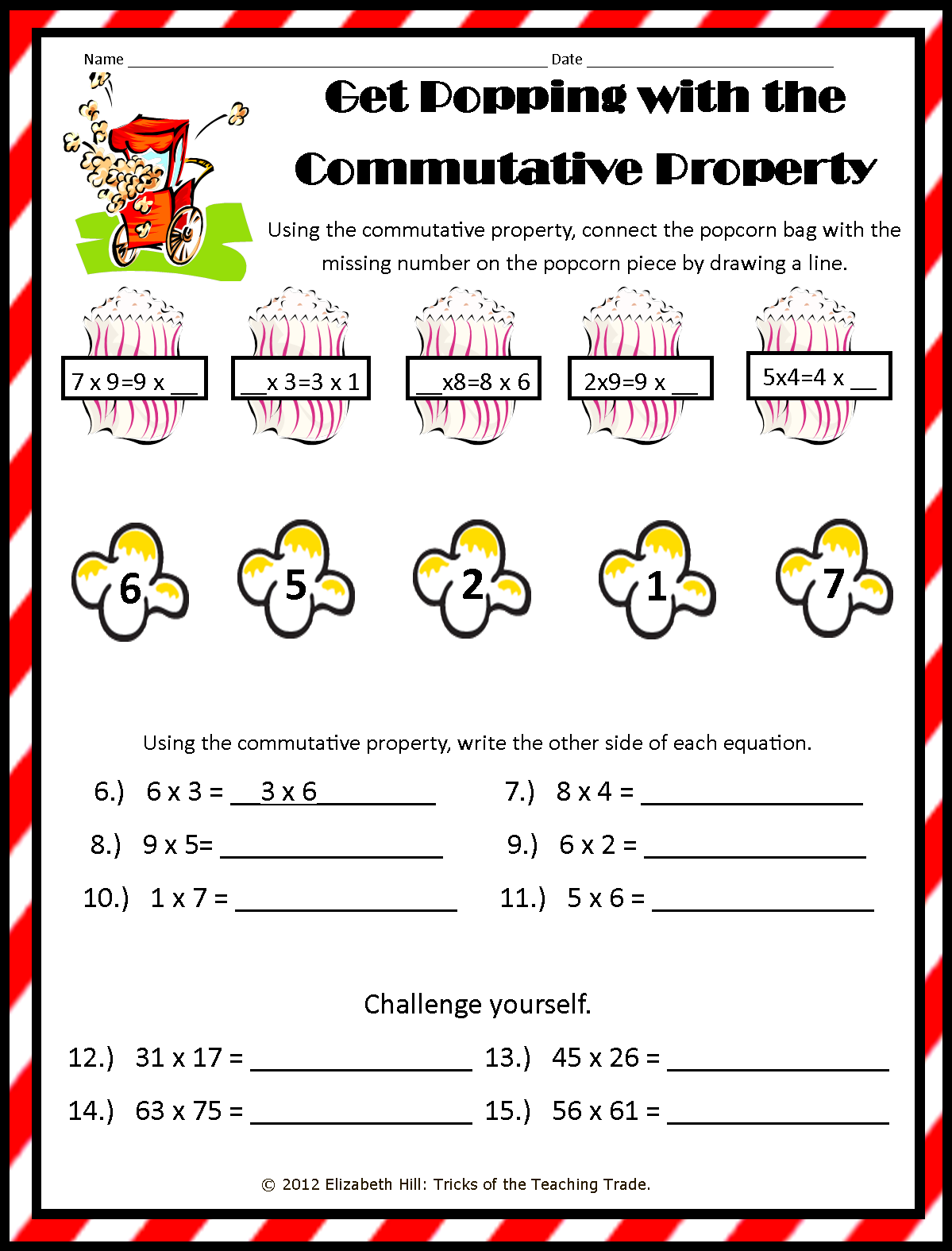 Worksheets Commutative Property Of Multiplication Worksheets tricks of the teaching trade popping about properties you can find multiplication at my tpt store
