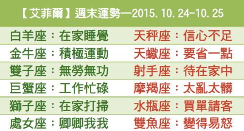 【艾菲爾】週末運勢—2015.10.24-10.25