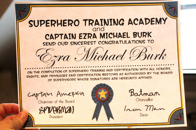 Ezra and libbys superhero party i wanted the diplomascertificates to sound legit so i based the wording off of my own veterinary diploma i also chose different handwriting type fonts for yadclub Choice Image
