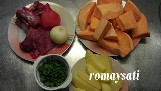 طريقة إعداد طاجين اللحم بالبطاطا حلوة بالصور