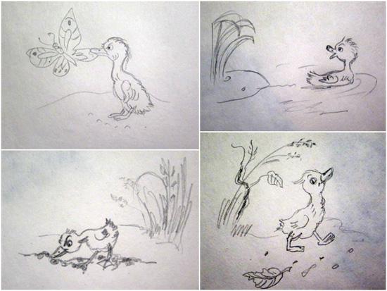 подражание иллюстрациям Сутеева
