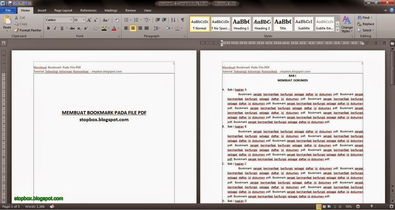 Menambah Bookmark Pada File PDF