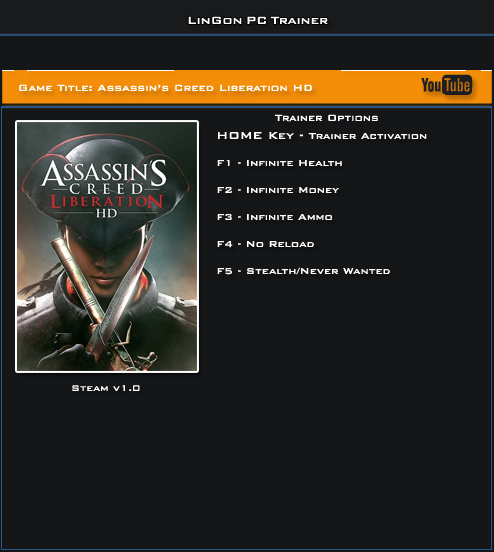 Assassin's Creed Liberation HD v1.0 Steam Trainer +5 [LinGon]