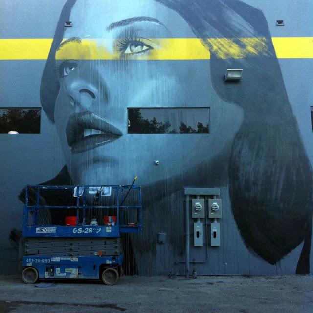 Work In Progress by Australian Street Artist RONE for Art Basel Miami 2013. 2