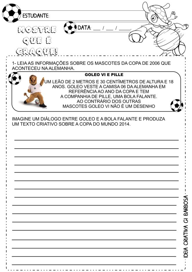 Atividade Copa do Mundo de 2014 Escrita Espontânea