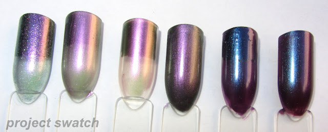 swatches - Butter London Knackered, Wet n Wild Fast Dry Gray's Anatomy, Sally Hansen Nail Prism Star Opal, Essence Where is the Party?, Orly Mysterious Curse, Chamelon Waltz