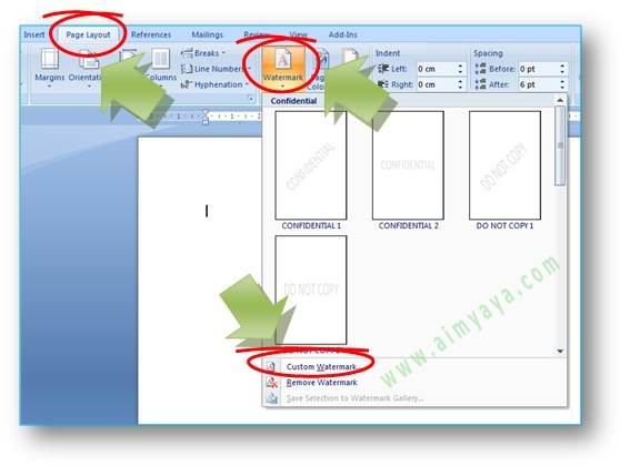 gambar: Cara membuat watermark melalui tab menu ribbon Page layout - watermark di Microsoft Word
