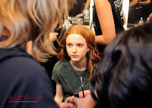 Model Madison Stubbington in H&MU Backstage for Watson x Watson, MBFWA. Photograph by Kent Johnson.