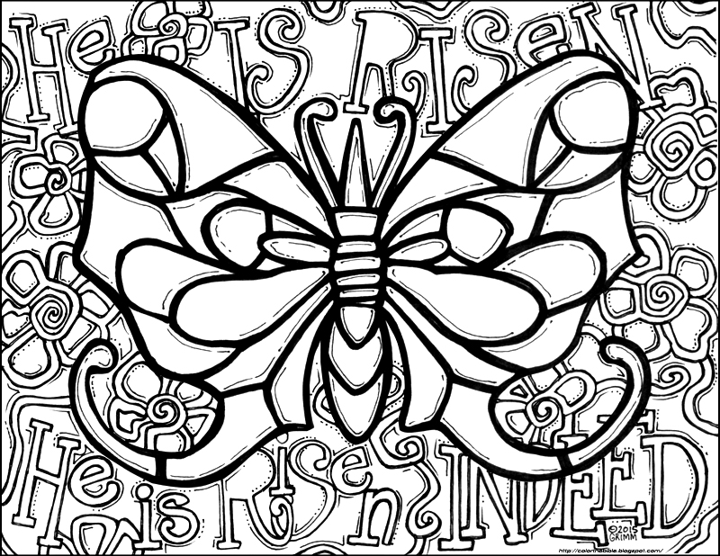 He Is Risen Indeed Butterfly Coloring Page