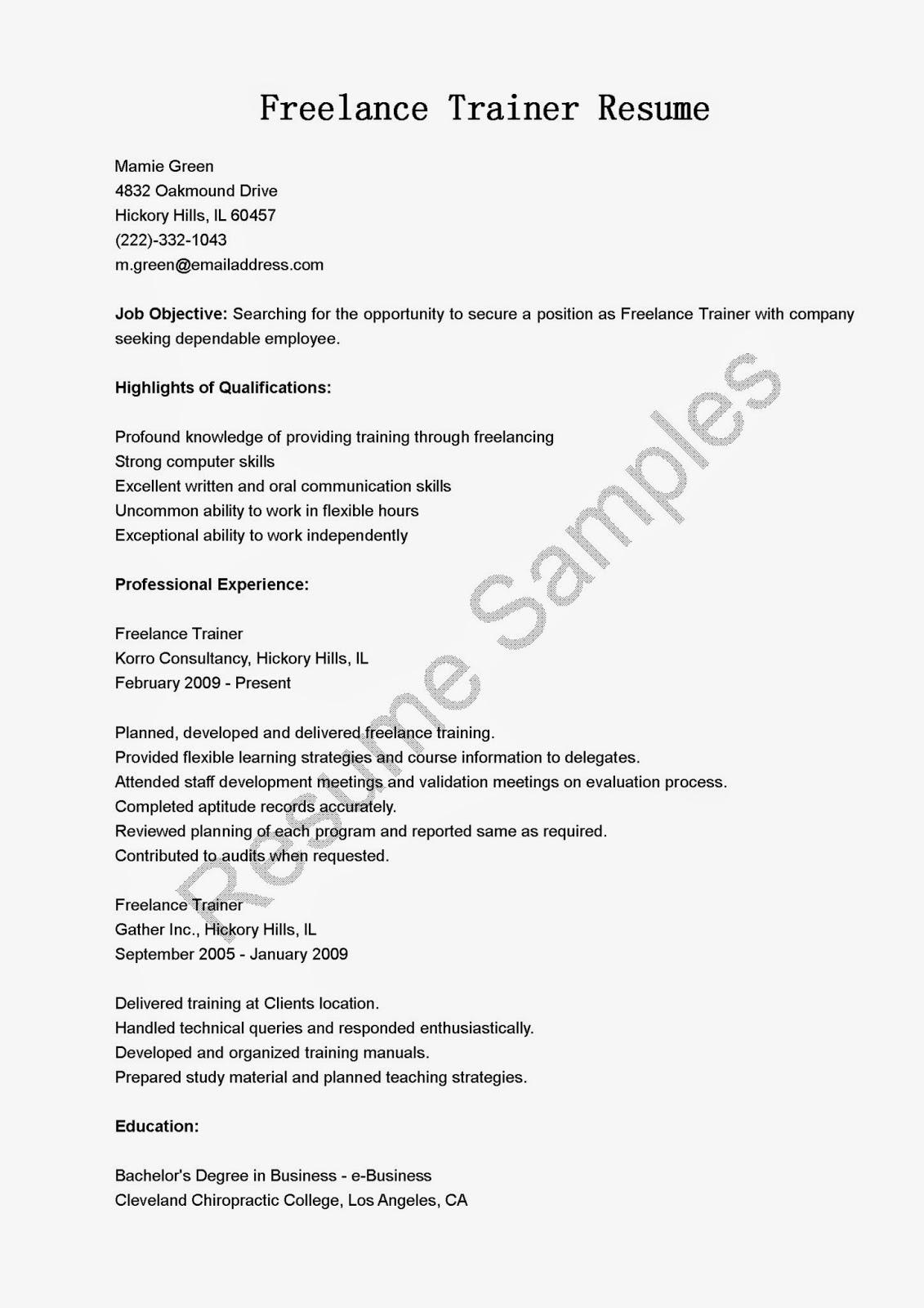 resume samples  freelance trainer resume sample
