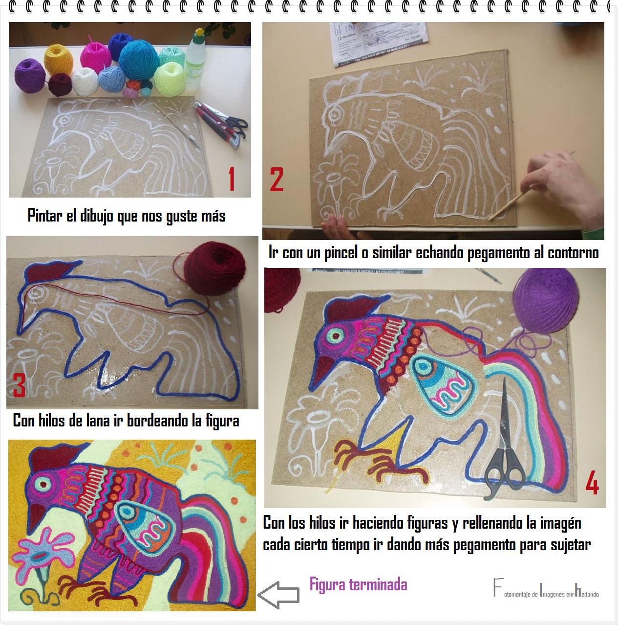Como hacer cuadros de hilos de lana tecnica enrhedando - Cuadros para hacer en casa ...
