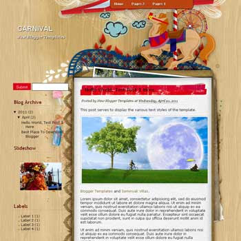Carnival Blogger Template. blogger template from wordpress theme.