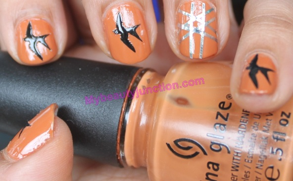 Manicure with Bourjois nail art kit and China Glaze Desert Sun