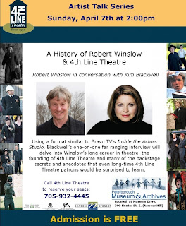 image poster highlighting Robert Winslow and Kim Blackwell 4th Line Theatre Millbrook