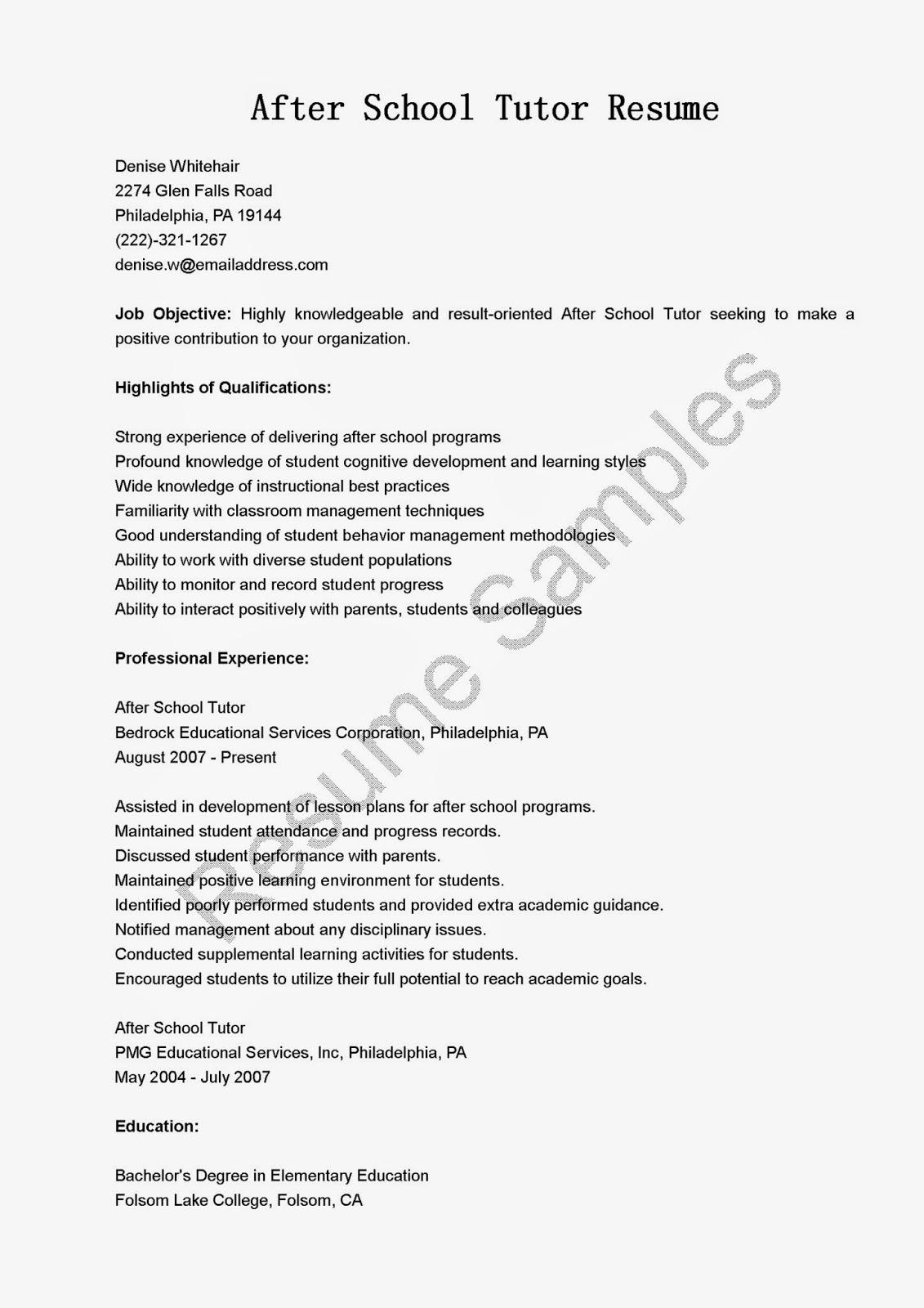 resume samples after school tutor resume sample. Black Bedroom Furniture Sets. Home Design Ideas